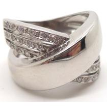 Joalheriavip Anel Ouro Branco 18k 28 Diamantes Sedex Grátis
