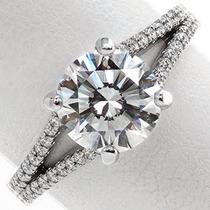 Anel Sólitario Com Diamantes Em Ouro Branco 18k!!!