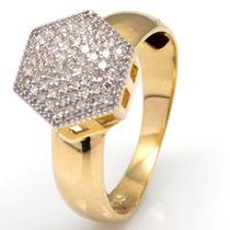 Anel Chuveiro Hexágono Com 61 Diamantes Em Ouro 18 Quilate