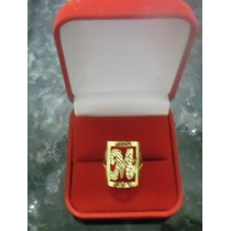 Anel De Letra M Em Ouro 18k Quadrado, Trabalhado