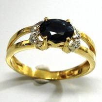 Anel Em Ouro 18k Pedra Safira Natural E Brilhante - Afo289