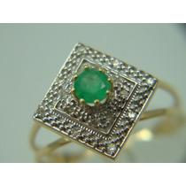 Anel De Formatura De Ouro 18k Com Diamantes E Esmeralda J R