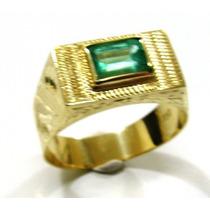 Anel Em Ouro 18k Com Pedra Esmeralda Natural - Afo24