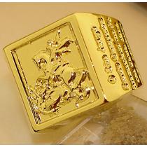 Anel São Jorge Oração Ouro Banho 18k Lindissimo