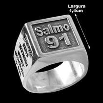 Anel De Prata 925 Com Salmo 91 + Frete Grátis