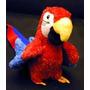 Arara Do Amazonas Papagaio Vermelho Pelúcia Rara Padrão Luxo