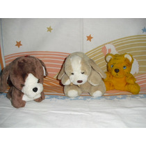 Lote Com 2 Cachorrinhos E 1 Ursinho De Pelucia Pequenos