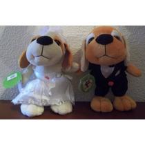 Casal De Cachorros De Pelúcia - Noiva E Noivo - Fala Te Amo!