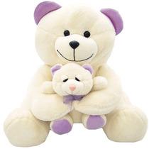 Pelucia Ursa Mãe + Ursinho Antialérgica Soft Toys 30cm
