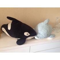 Lote Com 2 Pelúcia Do Mar Baleia Orca E Golfinho 80cm