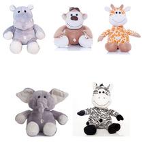 Kit Bichos Safari - Elefante, Girafa, Hipo, Macaco, Zebra