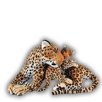 Leopardo De Pelúcia 70 Cm - Com Filhote