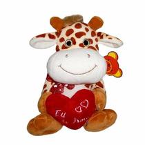 Pelúcia Girafa Com Coração Escrito Eu Te Amo