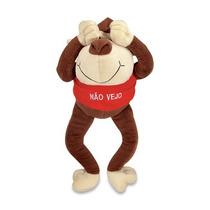Macaco Não Vejo Pelucia Marrom 42cm Lavavel Antialergic Novo