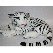 Tigre De Pelúcia Real - Branco - Mamãe E Filhote - 50cm