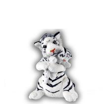 Tigre Branco De Pelúcia 35 Cm - Com Filhote