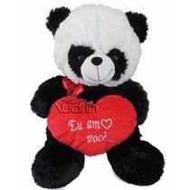 Urso Panda De Pelucia Grande 50 Cm Com Coração