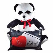 Urso De Pelúcia Panda 50cm Com Almofada Eu Te Amo 25x40