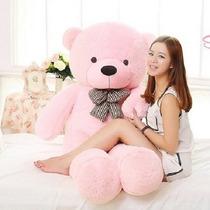 Urso De Pelúcia Gigante Rosa 120cm Com Recheio Frete Grátis