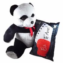 Panda De Pelúcia Love 50cm + Almofada Love Eu Te Amo 25x40