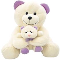 Urso De Pelúcia Com Filhote 30 Cm Atoxico 049593
