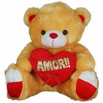 Urso De Pelúcia Coração Grande 40cm -marrom- Fe6389