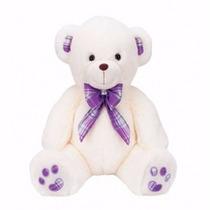Urso De Pelúcia Vanilla Branco Grande C/ Laço Buba Toys