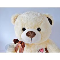 Urso Grande De Pelúcia Bichinho - Beje Com Laço Marrom 67cm