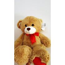 Urso Ursinho De Pelúcia Marrom Com Laçinho Vermelho Toys