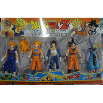 Kit Com 5 Bonecos Dragon Ball Z Articulados Goku Vegeta 15cm