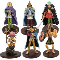 Kit Com 6 Figures Bonecos One Piece Luffy Zoro Usopp Chopper