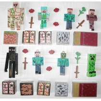 Kit Minecraft 8 Bonecos + 16 Itens Total 24 Peças Brinquedo