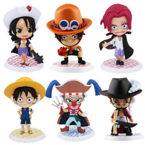 Kit Com 6 Figures Bonecos One Piece Luffy Ruffy Ace Hawk Eye