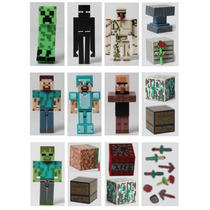 Minecraft Kit Com 8 Bonecos + 16 Itens Action Figure Pvc 7cm