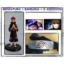 Boneco Miniatura Anime Naruto + Bandana + 2 Adesivos Cosplay