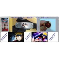 Naruto Kit Cosplay Anime Colar+ Bandana+ Anel+ 2 Adesivos