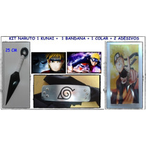 Naruto Kit Cosplay Anime Kunai + Colar + Bandana+ 2 Adesivos