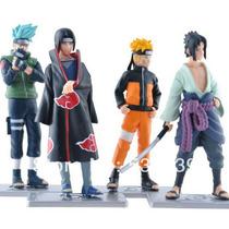 Naruto 12cm Kakashi Itachi Sasuke 4 Bonecos C/ Base