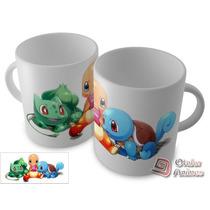 Caneca Pokémon - Bulbassauro, Charmander E Squirtle