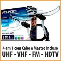 Antena Externa Aquario Dtv3000 + Cabo 20m+ Mastro+ Suporte