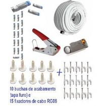 Kit De Instalação De Antenas Completo Com 100 M De Cabo Rg6