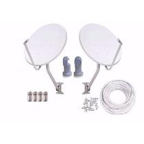 Kit Com 2 Antenas Banda Ku 60cm+lnb Simples 30m Cab 4 Conct