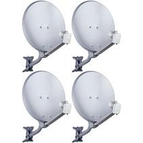 Kit 04 Antena Banda Ku 60 Cm Completa Com Lnbf Simples Hd !