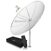 Kit Antena Parabólica Cromus 1,70m+lnbf Multi+cabo+receptor!
