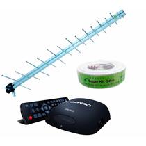 Antena Uhf Digital Externa 20dbi Hdtv + Conversor E Cabo 15m