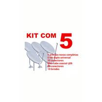 Kit 5 Antenas Completas Banda Ku 60cm Lnb Duplo