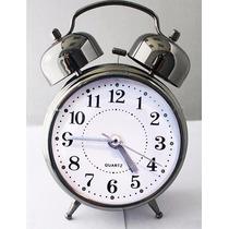 Relógio Despertador Analógico Com Som Bem Alto 2 Sinos Prata