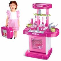 Super Cozinha Infantil Portátil Rosa Belfix C/ Luz E Som