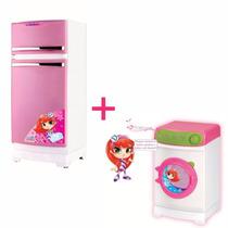 Geladeira Infantil Rosa + Máquina De Lavar Magic Toys