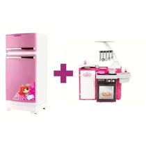 Geladeira Rosa Branca Magic Toys + Cozinha Classic Cotiplás